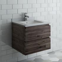 Fresca Formosa (single) 24-Inch Acacia Modern Wall-Mount Bathroom Vanity