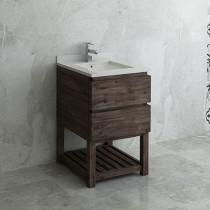 Fresca Formosa (single) 24-Inch Acacia Modern Modular Bathroom Vanity w/ Open Bottom