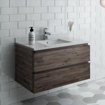 Fresca Formosa (single) 36-Inch Acacia Modern Wall-Mount Bathroom Vanity