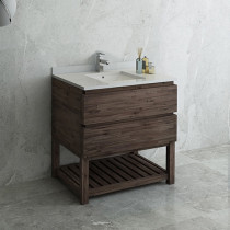 Fresca Formosa (single) 36-Inch Acacia Modern Modular Bathroom Vanity w/ Open Bottom