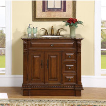 Remus (single) 38-Inch Traditional Bath Vanity With Baltic Brown Granite
