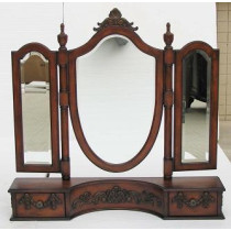 """Beautiful Victorian 37"""" Inch Tri-Mirror With Drawers"""