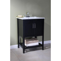 Angie (single) 24-Inch Espresso Plantation Style Bathroom Vanity