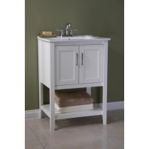 Angie (single) 24-Inch White Plantation Style Bathroom Vanity