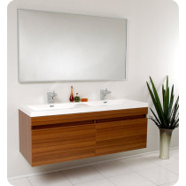Fresca Largo (double) 56.6-Inch Teak Modern Wall-Mount Bathroom Vanity Set
