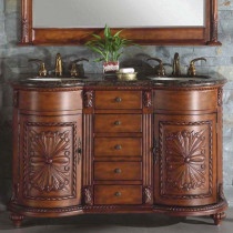 Natalia 54-inch Traditional Double Vanity with Matching Mirror