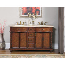 Fauna 60-inch Double Traditional Antique Bath Vanity