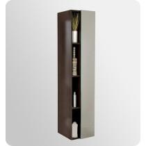 Fresca 15.8-Inch Gray Oak Mirrored Wall-Mount Bathroom Linen Side Cabinet