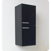 Fresca 12.6-Inch Black Wall-Mount Bathroom Linen Side Cabinet