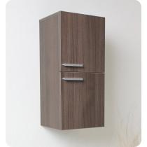 Fresca 12.6-Inch Gray Oak Wall-Mount Bathroom Linen Side Cabinet