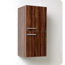 Fresca 12.6-Inch Walnut Wall-Mount Bathroom Linen Side Cabinet