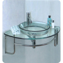 Fresca Ordinato (single) 24-Inch Glass Modern Corner Wall-Mount Bathroom Vanity