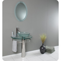 Fresca Attrazione (single) 28.8-Inch Clear Glass Modern Bathroom Vanity Set