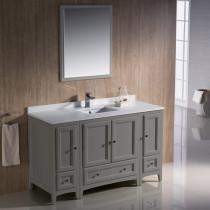 Fresca Oxford (single) 54-Inch Gray Transitional Bathroom Vanity Set