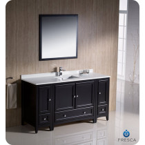 Fresca Oxford (single) 60-Inch Espresso Transitional Bathroom Vanity Set