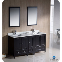 Fresca Oxford (double) 60-Inch Espresso Transitional Bathroom Vanity Set