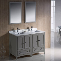 Fresca Oxford (double) 48-Inch Gray Transitional Bathroom Vanity Set