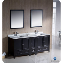 Fresca Oxford (double) 72-Inch Espresso Transitional Bathroom Vanity Set