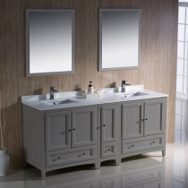 Fresca Oxford (double) 72-Inch Gray Transitional Modular Bathroom Vanity Set