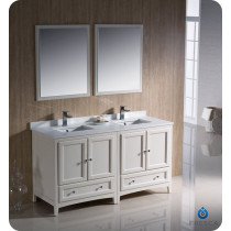 Fresca Oxford (double) 60-Inch Antique White Transitional Bathroom Vanity Set (Model 2)