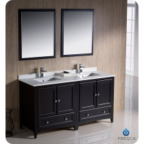 Fresca Oxford (double) 60-Inch Espresso Transitional Bathroom Vanity Set (Model 2)