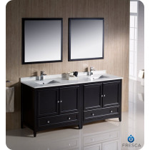 Fresca Oxford (double) 72-Inch Espresso Transitional Bathroom Vanity Set (Model 2)