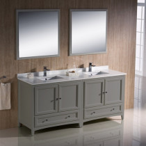 Fresca Oxford (double) 72-Inch Gray Transitional Bathroom Vanity Set (Model 2)
