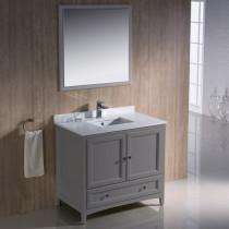 Fresca Oxford (single) 36-Inch Transitional Gray Bathroom Vanity Set