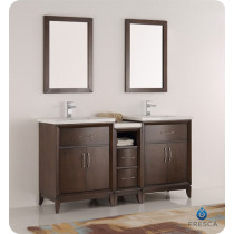 Fresca Cambridge (double) 60-Inch Antique Coffee Modern Bathroom Vanity with Integrated Sinks