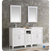 Fresca Cambridge (double) 60-Inch White Modern Bathroom Vanity Set