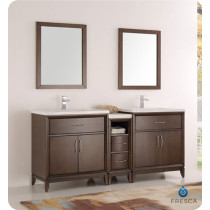 Fresca Cambridge (double) 72-Inch Antique Coffee Modern Bathroom Vanity with Integrated Sinks