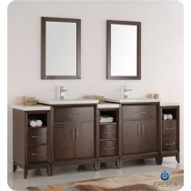 Fresca Cambridge (double) 84-Inch Antique Coffee Modern Bathroom Vanity with Integrated Sinks