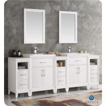 Fresca Cambridge (double) 84-Inch White Modern Bathroom Vanity Set