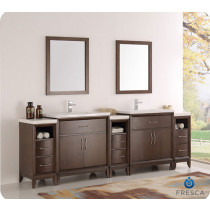 Fresca Cambridge (double) 96-Inch Antique Coffee Modern Bathroom Vanity with Integrated Sinks