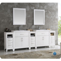 Fresca Cambridge (double) 96-Inch White Modern Bathroom Vanity Set