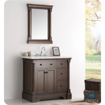 Fresca Kingston (single) 37-Inch Antique Coffee Traditional Bathroom Vanity Set