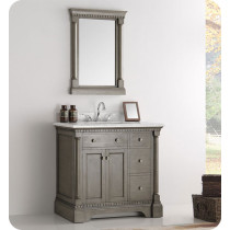 Fresca Kingston (single) 37-Inch Antique Silver Traditional Bathroom Vanity Set