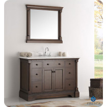 Fresca Kingston (single) 49-Inch Antique Coffee Traditional Bathroom Vanity Set