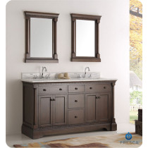 Fresca Kingston (double) 61-Inch Antique Coffee Traditional Bathroom Vanity Set