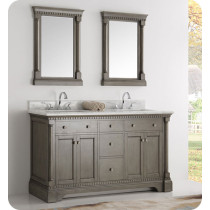 Fresca Kingston (double) 61-Inch Antique Silver Traditional Bathroom Vanity Set