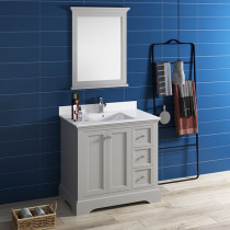 Fresca Windsor (single) 36-Inch Transitional Gray Textured Bathroom Vanity Set