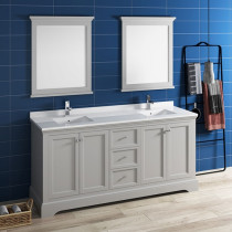 Fresca Windsor (double) 72-Inch Transitional Gray Textured Bathroom Vanity Set