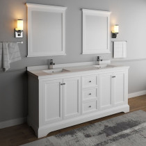 Fresca Windsor (double) 72-Inch Transitional Matte White Bathroom Vanity Set