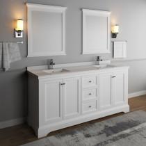 Fresca Windsor (double) 72-Inch Transitional Matte White Bathroom Vanity Set