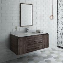 Fresca Formosa (single) 48-Inch Acacia Modern Modular Wall-Mount Bathroom Vanity Set
