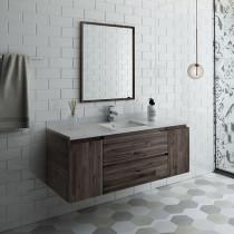Fresca Formosa (single) 54-Inch Acacia Modern Modular Wall-Mount Bathroom Vanity Set