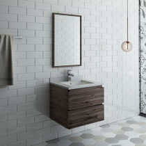 Fresca Formosa (single) 24-Inch Acacia Modern Wall-Mount Bathroom Vanity Set