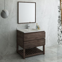 Fresca Formosa (single) 36-Inch Acacia Modern Modular Bathroom Vanity Set w/ Open Bottom