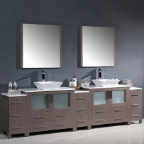 Fresca Torino (double) 108-Inch Gray Oak Modern Bathroom Vanity with Vessel Sinks