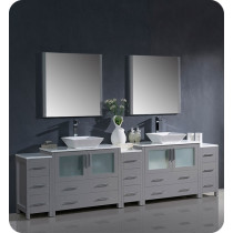 Fresca Torino (double) 108-Inch Gray Modern Bathroom Vanity with Vessel Sinks